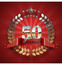 Anniversary 50th ring with red ribbon vector