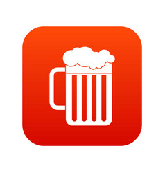 beer mug icon digital red vector image
