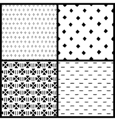 Black and white simple ethnic geometric seamless vector image