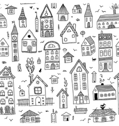 Black houses seamless pattern vector