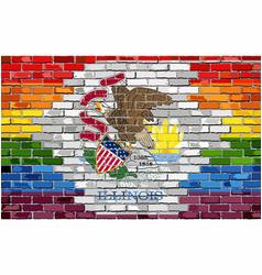Brick wall illinois and gay flags vector