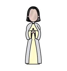 cartoon virgin mary pray spiritual christmas vector image vector image