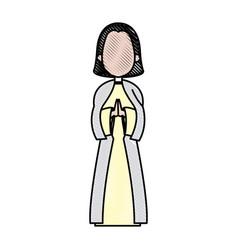Cartoon virgin mary pray spiritual christmas vector