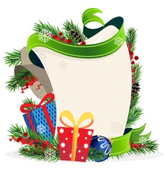 Christmas wreath and gift boxes vector