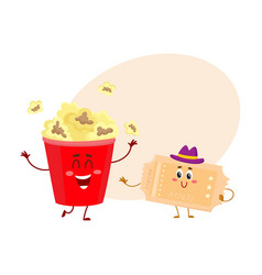 Cinema popcorn and vintage movie ticket characters vector