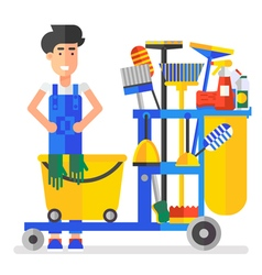 Cleaning Bucket Man vector image