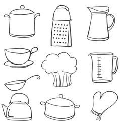 doodle of kitchen various equipment vector image vector image