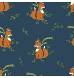Funny foxy with scarf and hat pattern vector