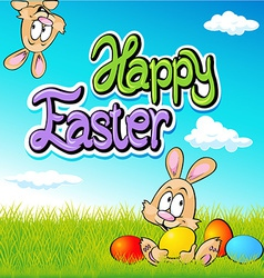 happy easter text- design with bunny eggs and vector image vector image