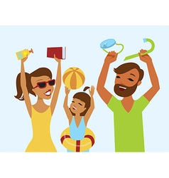 Happy family ready for summer holiday vector image