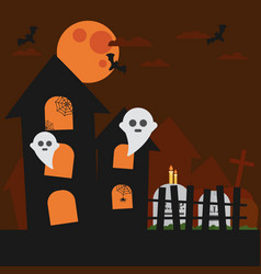 Haunted house bat ghost cloud in the sky vector