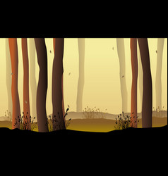 Landscape forest with tree silhouette vector