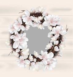 Magnolia floral wreath frame card place vector