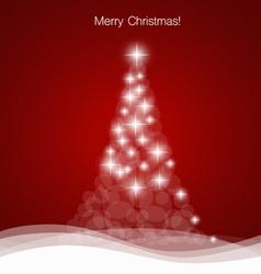 Merry Christmas greeting card with Christmas tree vector image