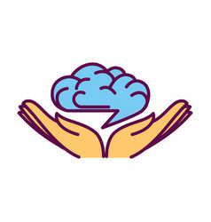 open hand palms with human brain over them logo vector image vector image
