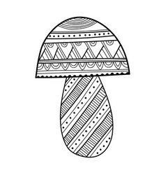 ornamental mushroom black and white vector image