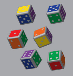 Rainbow dice with grey points vector