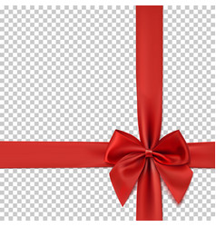realistic red bow and ribbon isolated on vector image