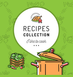 Recipe book cookbook cover menu boiling pot vector