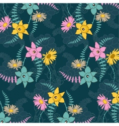 seamless background with colored flowers vector image vector image