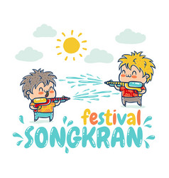 songkran water festival in thailand vector image