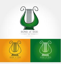Stylized image of lyre logo vector