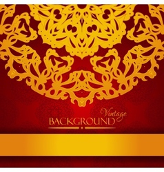 Vintage red and gold elegant invitation card vector