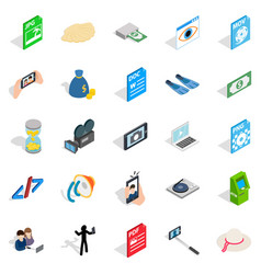 Webcam icons set isometric style vector