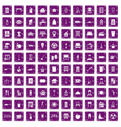 100 cleaning icons set grunge purple vector image vector image
