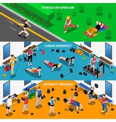 Gym banners set vector