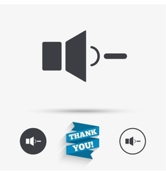 Speaker low volume sign icon sound symbol vector