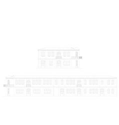 The facade of the building vector