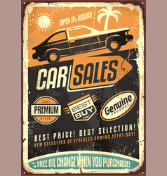 car sales vintage sign design vector image