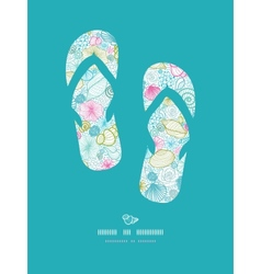 Seashells line art flip flops decor pattern vector image