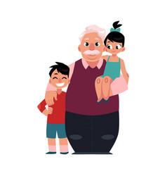 Family portrait grandfather grandpa standing vector