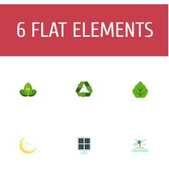 Flat icons foliage eco energy isle beach and vector