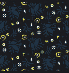 Floral paisley dark blue pattern vector