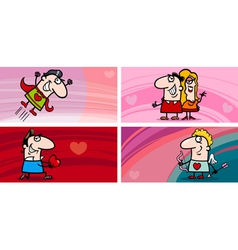 Valentine cartoon greeting cards set vector