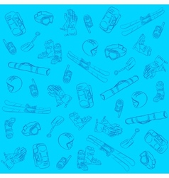 Hand Drawn Ski Seamless Pattern vector image