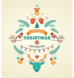 Christmas design with birds elements ribbons and vector