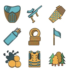Flat colored icons for paintball vector image