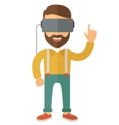 Man with isometric virtual reality headset vector