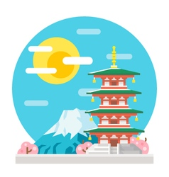 Japan pagoda flat design landmark vector image