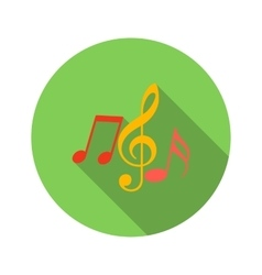Music key and notes flat icon vector