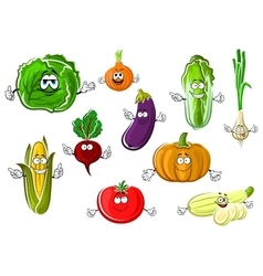 Happy appetizing cartoon isolated vegetables vector