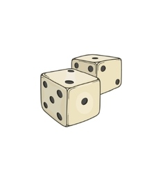 Two colored cartoon-style dice cubes vector