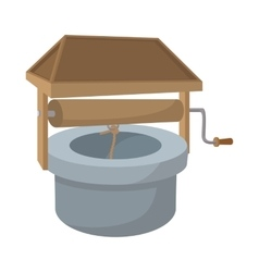 Well with a roof cartoon icon vector