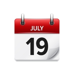 July 19  flat daily calendar icon date vector