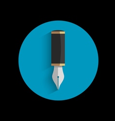 Icon of stylized writing pen with shadow vector image