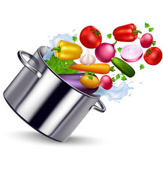 Fresh vegetable in metal pan vector